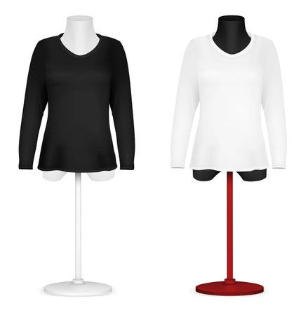 torso: Long sleeve blank shirt on mannequin torso template. Illustration
