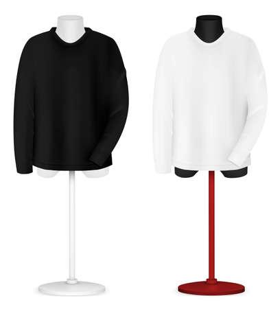 long sleeve shirt: Plain long sleeve shirt on mannequin torso template