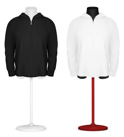 Plain long sleeve hooded jacket on mannequin torso template