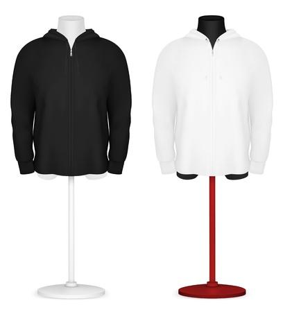 Plain long sleeve hooded jacket on mannequin torso template Stock Vector - 21646927