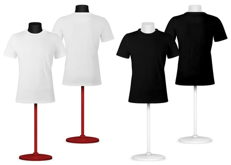 Plain t-shirt on mannequin torso template. Front and back views. Illustration