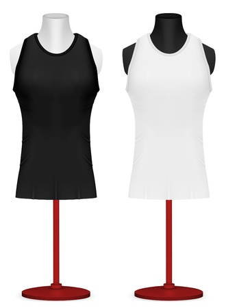 torso: Sleeveless training shirt on mannequin torso template. Illustration