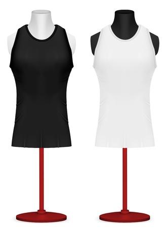sleeveless: Sleeveless training shirt on mannequin torso template. Illustration