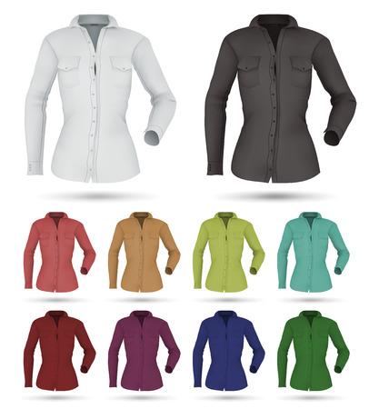 bosom: Classic womens plain shirt template. Isolated background. Illustration