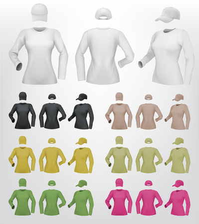 long sleeve shirt: Plain female long sleeve shirt template on isolated background.