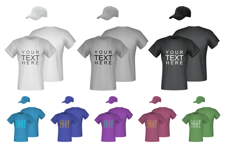 Plain male t-shirt and cap templates. Isolated background.