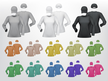 Plain female long sleeve shirt and cap template. Isolated background