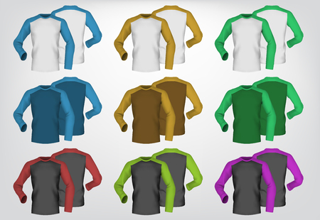 long: Long sleeve blank two colored t-shirt template.