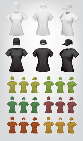 front side: Plain womens t-shirt template.Isolated background. Back, front, side views.