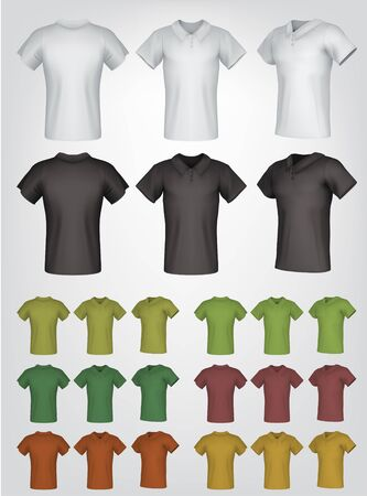 Plain male polo shirt templates. Isolated background. Back, front, side views.