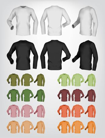 sleeve: Long sleeve blank t-shirt template. Front, rear and side view.