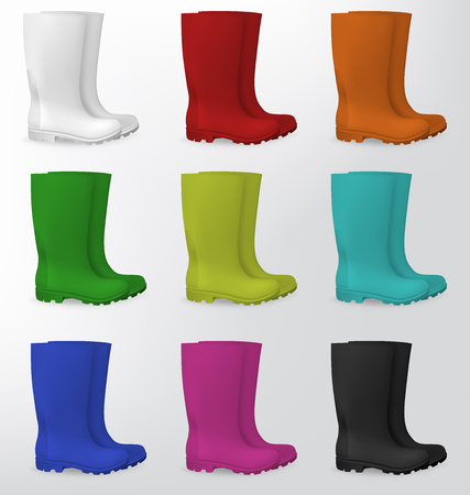 gumboots: ubber safety boots in white, red, orange, green, light green, aqua, blue, pink and black. Illustration