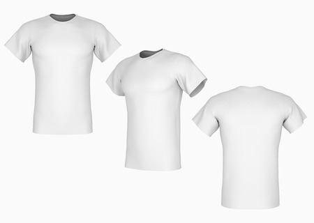 Plain white t-shirt template on isolated background Stock Photo