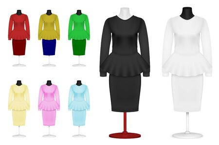 skirt suit: Womens plain suit and skirt template set.