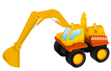digger: Excavator toy. Isolated background.