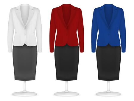 Classic womens plain jacket and skirt template.