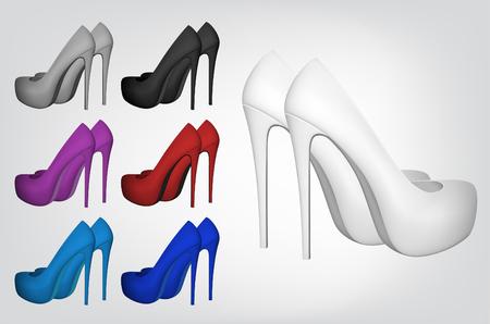 femininity: High-heeled blank shoes template. Illustration