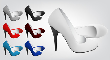 High-heeled blank shoes template. Illustration