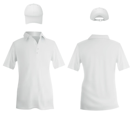 Set of male white polo and a baseball cap template. Illustration