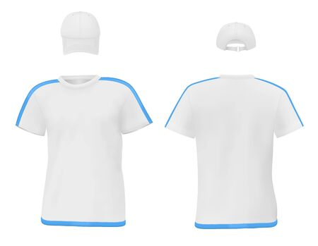 t shirt printing: Set of mens t-shirt and a baseball cap. Front and rear views.