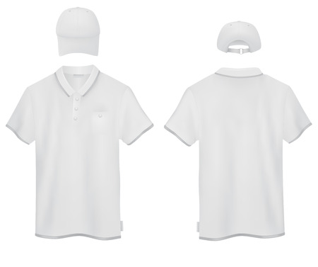 t shirt printing: Set of male white polo and a baseball cap template. Front and rear views.