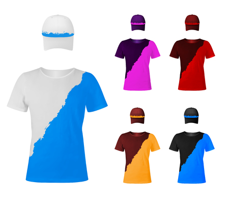 Design template of two-color t-shirts with hats. Illustration