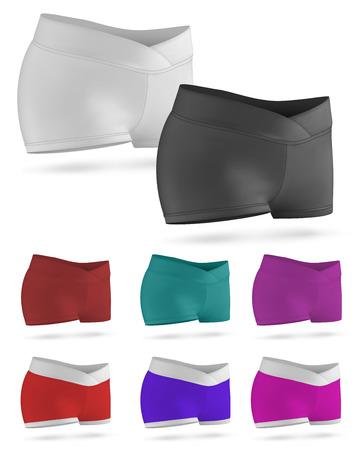 sleepover: Blank training female waist shorts set template. Illustration