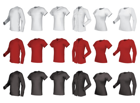 Polo, shirts and  t-shirts set. Male and female, side view.