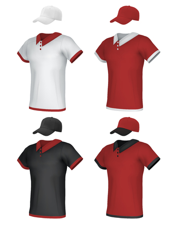t shirt printing: Male blank uniform polo and baseball cap template set.