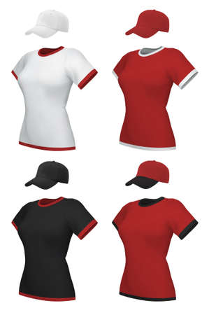t shirt printing: Female blank uniform polo and baseball cap template set. Illustration