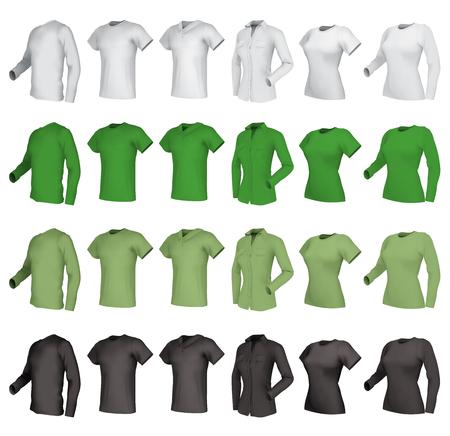 ポロ、t シャツと t シャツのセットです。  イラスト・ベクター素材