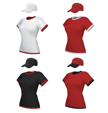 Female blank uniform polo and baseball cap template set isolated on white Illustration