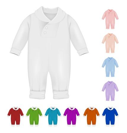 Baby Farbe Bodysuit leere Vorlage isoliert auf weiß Vektorgrafik