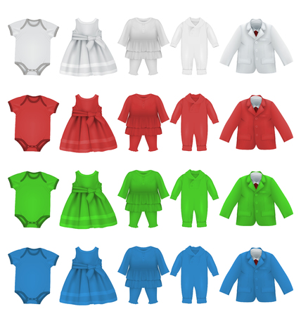 Set of baby bodysuit dress and jacket blank template.