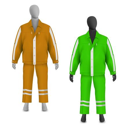 Safety jacket and pants set on mannequin Illustration