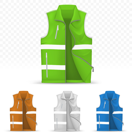 Template of reflective vest isolated on transparent background Illustration