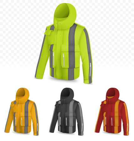 Template of reflective jacket isolated on transparent background Illustration
