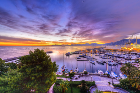 palermo: Sunrise at Palermo Harbour with white Yachts