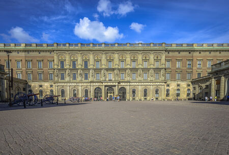 Outer courtyard at Stockholms Royal Palace with cannons