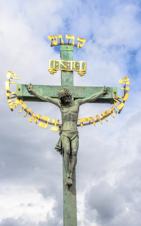 czech culture: Jesus on the cross at Charles bridge, Prague, Czech republic