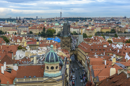 View of Prague and Charles Bridge in a cloudy day Reklamní fotografie