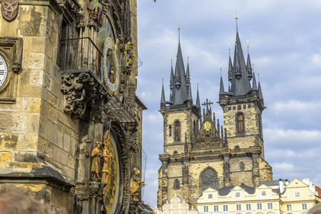 Church Of Our Lady Before Tyn and Astronomical Clock in Prague Stock Photo - 27051319
