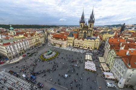 czech culture: Prague - September 21: Old town square crowded with tourists on September 21, 2013 in Prague.