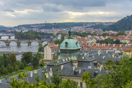 Aerial view of Prague from Petrin Hill, showing Charles bridge and vltava River