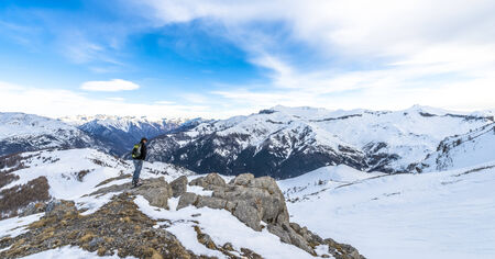 cote d'azure: Hiker at French Alps in Auron, South of France