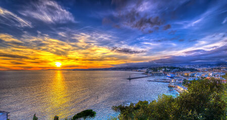 Aerial view of beach in Nice at sunset from Nice Castle