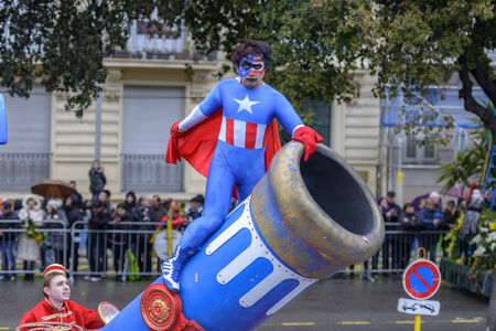 costum: Nice - February 23: Male Entertainer in carnival Costum at the Nice Flower Carnival on February 23, 2013 in Nice, France
