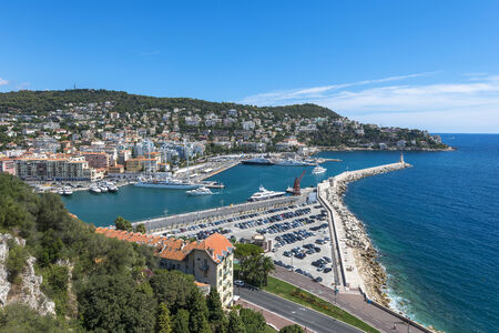 Aerial view of coastline in Nice, France