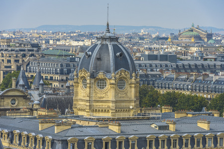 palais garnier: Aerial View of Paris from Notre-dame with Palais Garnier in the background Stock Photo