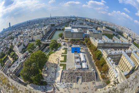 Fish-eye view of Paris from Notre-dame in a sunny summer day